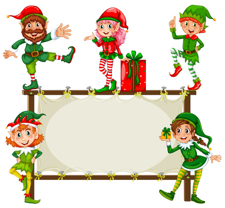 Illustration of christmas elf and a frame Vector