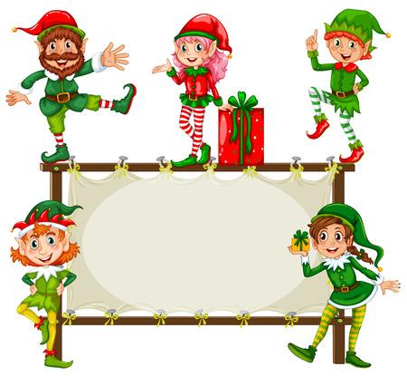 Ilustración del duende de la Navidad y un marco Vectores
