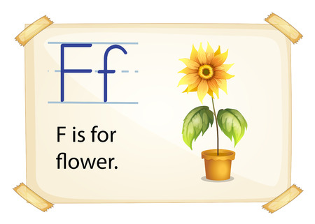 consonant: A letter F for flower on a white background