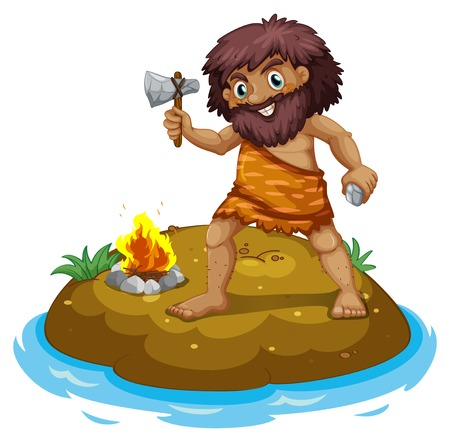 A caveman in the island on a white background Vector