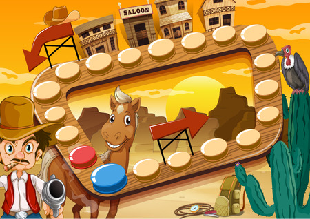 cartoon quiet: Board game with desert and cowboy theme Illustration