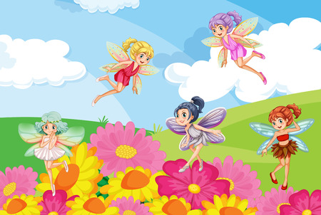 A garden with the beautiful fairies Ilustrace