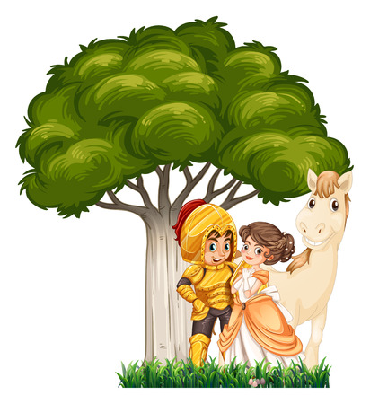 army girl: A soldier and his lover with a horse under the tree on a white background