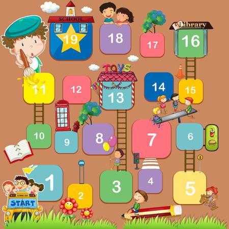 Een educatieve bordspel met nummers Stock Illustratie