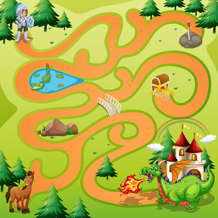 cartoon dragon: Maze game board with warrior an dragon theme