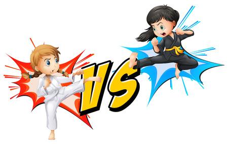 Zwei Mädchen kämpfen auf einem weißen Hintergrund Illustration