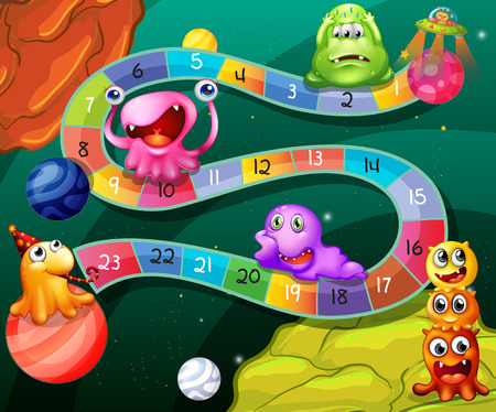 board games: Board game with numbers and aliens theme