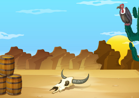 dead: A desert with a dead animal beside the wooden barrels