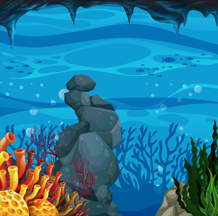 coral reef underwater: Poster of an underwater scene Illustration