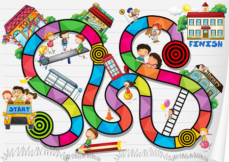 A boardgame with kids and buildings Stock Illustratie