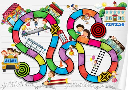 jeu: Un jeu de soci�t� avec des enfants et des b�timents Illustration