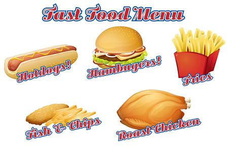 Flashcard of fast food menu Vector