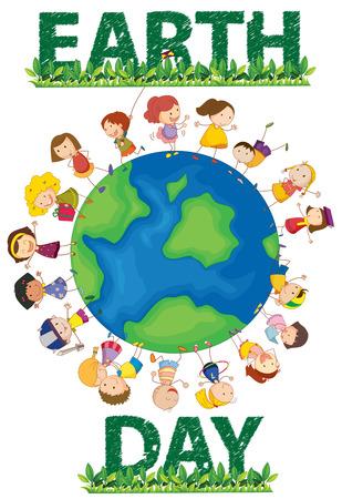 planeta tierra feliz: Ilustración de cartel earthday