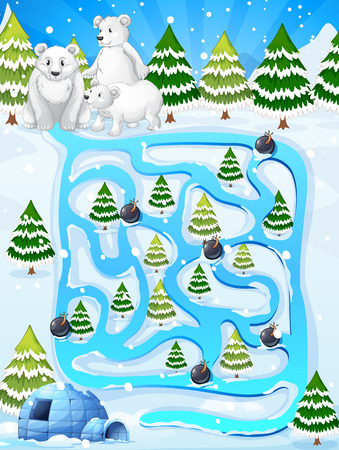 igloo: A maze game with polar bears Illustration