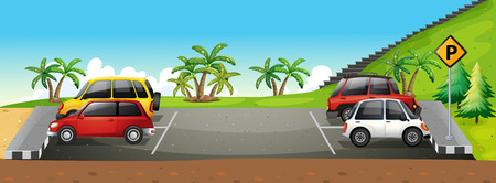 carro caricatura: Un área de estacionamiento Vectores