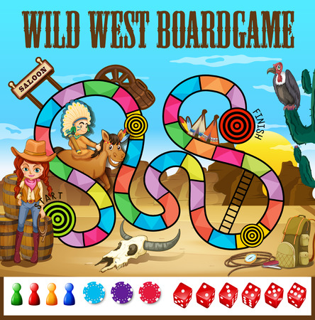 west indian: Illustration of a wild west boardgame