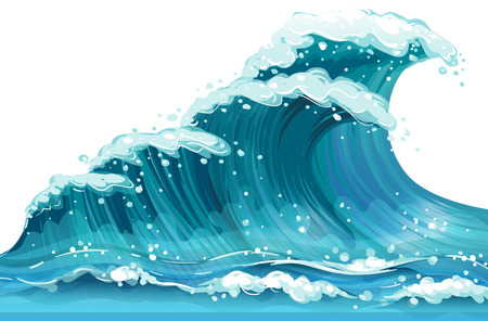 Illustration of a huge ocean wave Stock Illustratie