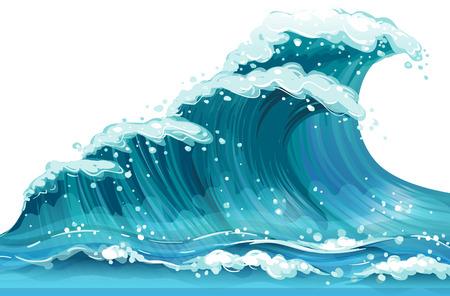 oceano: Ilustración de una ola de mar enorme Vectores