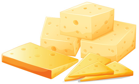 melted cheese: Flashcard of different shapes of cheese