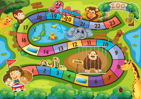 lines game: Illustration of a board game with zoo background Illustration