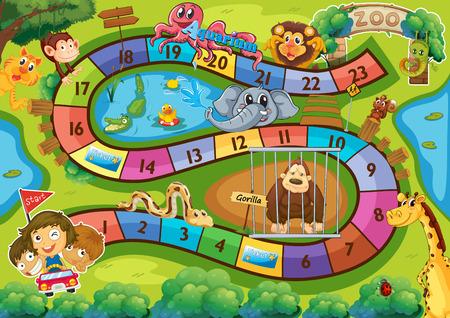 serpiente caricatura: Ilustración de un juego de mesa con el fondo zoológico