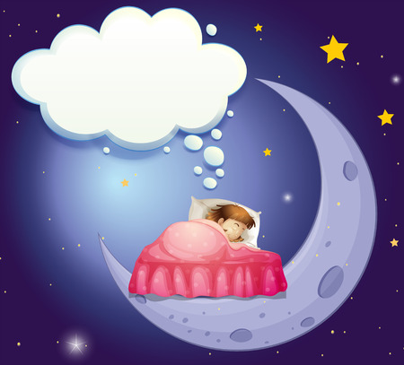 relaxed: Illustration of a girl having a sweet dream in bed