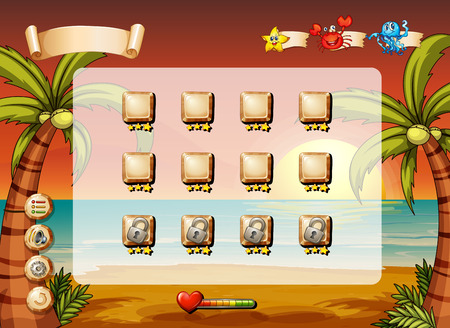 Set of icons and elements of a game with beach theme Vector