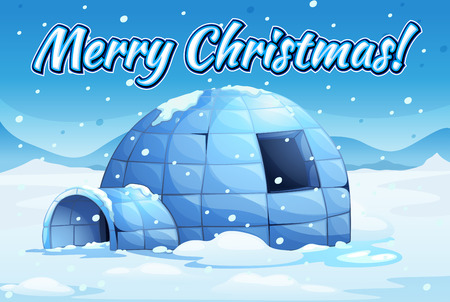 northpole: Illustration of snow falling over an igloo
