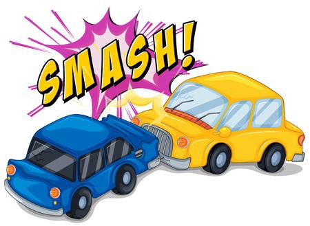 crashing: Illustration of a car accident