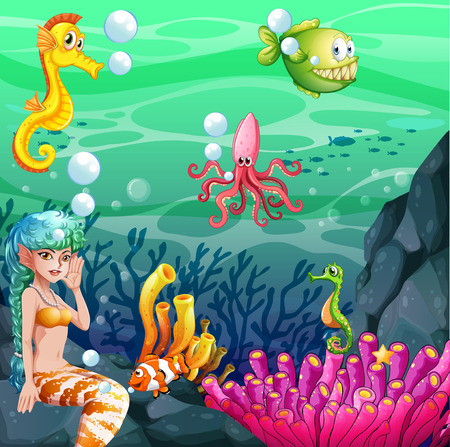 nemo: Wallpaper with colorful underwater theme Illustration