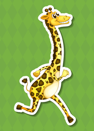 terrestrial: An isolated drawing of a happy giraffe Illustration