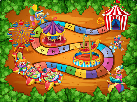 Board game with theme of circus