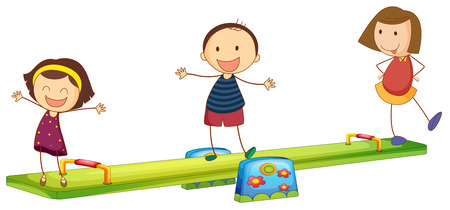 Kids playing with the seesaw on a white background Vector