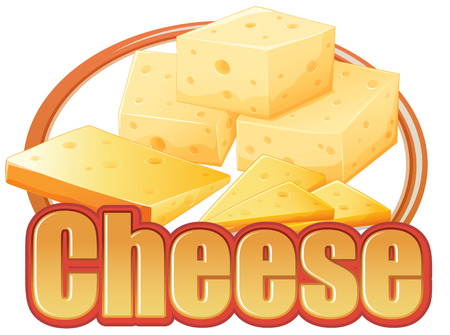 cheesy: Cheese in different sizes on a white background