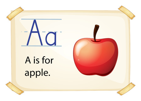 vowel: A letter A for apple on a white background