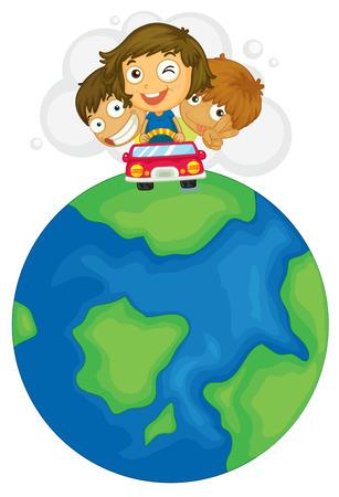 roadtrip: Illustration of a roadtrip around the world