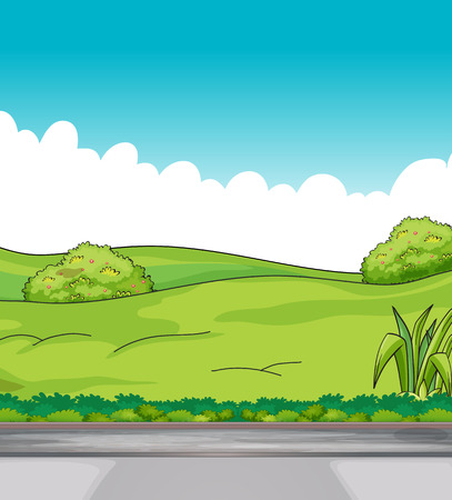 cement court: Illustration of a beautiful view of green hills
