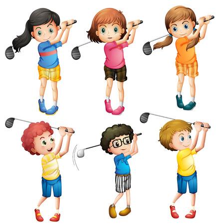 Seis niños adorables jugando al golf en un fondo blanco Foto de archivo - 34302341