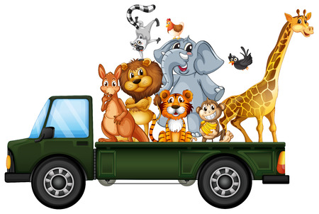 Illustration of many animals on the truck Vector
