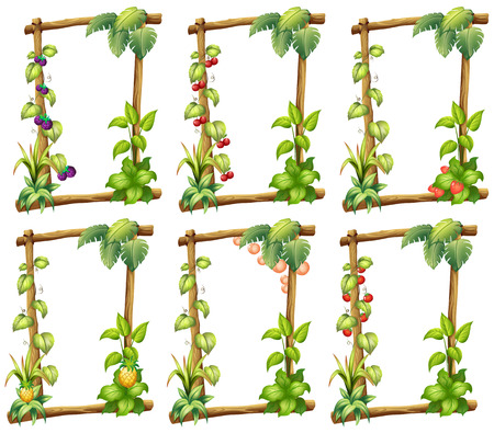 Illustration of many plant templates Vector