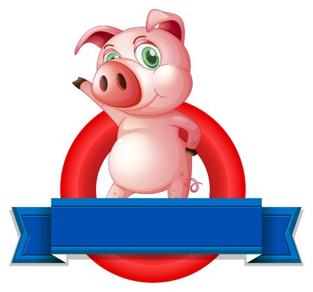 pig wings: Illustration of a pig and a banner Illustration