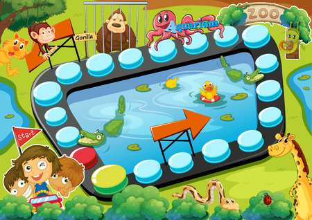 squirrel monkey: Board game with zoo theme Illustration