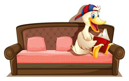 agachado: Ilustraci�n de un pato sentado en un sof� Vectores