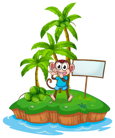 the land of menu: A happy monkey in the island with an empty signboard on a white background