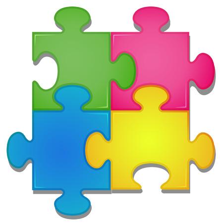 sameness: Illustration of colorful pieces of jigsaw Illustration