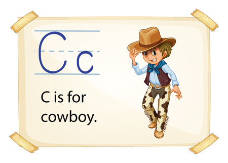 phonetic: Illustration of alphabet C is for cowboy Illustration