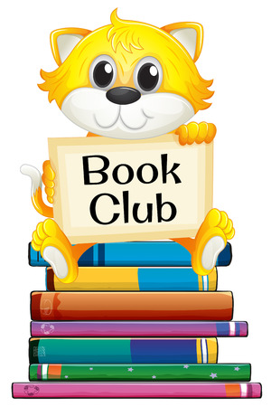 book club: Illustration of a kitten sitting on top of a stack of books
