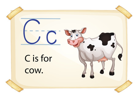phonetic: Illustration of alphabet C is for cow
