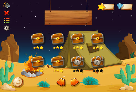 videogame: A videogame in the desert with an empty signboard Illustration
