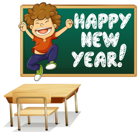 writing chair: Illustration of a boy and happy new year board Illustration